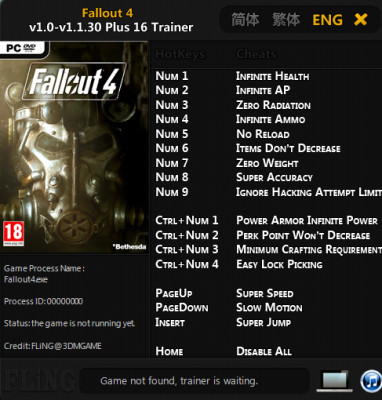Fallout 4 v1.1.30 - Trainer +17