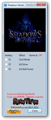 Shadows Heretic Kingdoms cheats