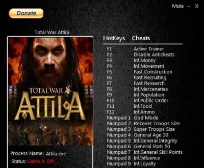 Total War ATTILA cheats