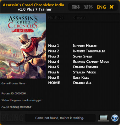 Assassin's Creed Chronicles India cheats