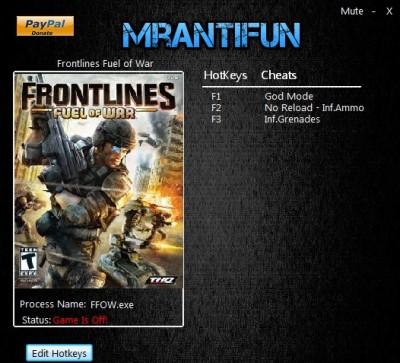 Frontlines Fuel of War cheats