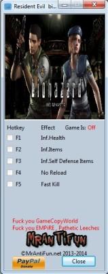 Resident Evil HD REMASTER cheats