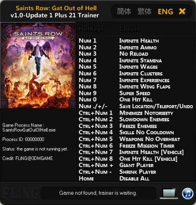 Saints Row Gat out of Hell cheats