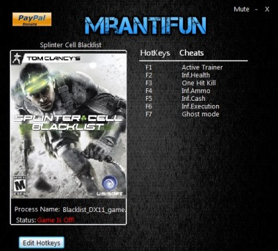Tom Clancy's Splinter Cell Blacklist cheats