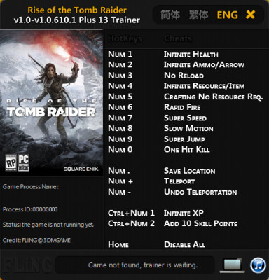 Rise of the Tomb Raider cheats trainer