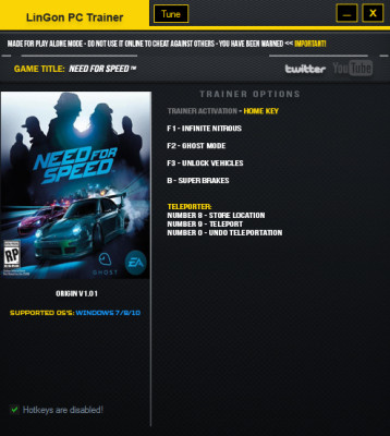 Need for Speed (2016) cheats