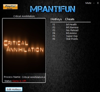 Critical Annihilation cheats