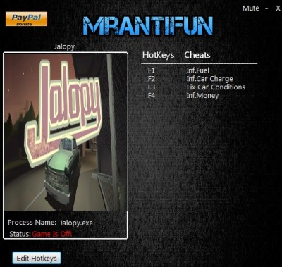 Jalopy cheats