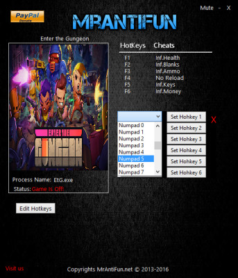 Enter the Gungeon v 1.0.9 cheats