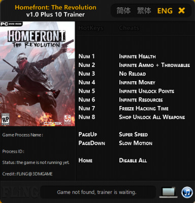 Homefront The Revolution cheats