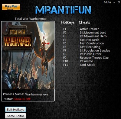 Total War Warhammer cheats