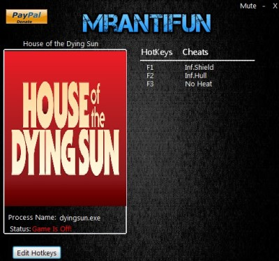 House of the Dying Sun cheats