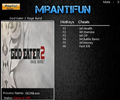 God Eater 2 Rage Burst cheats