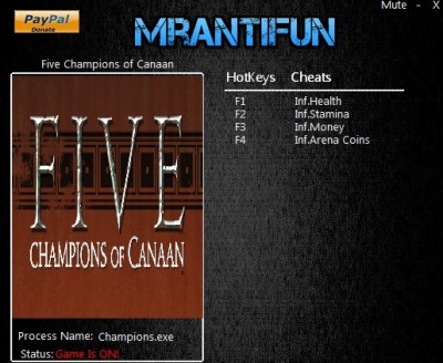 Five Champions of Canaan cheats