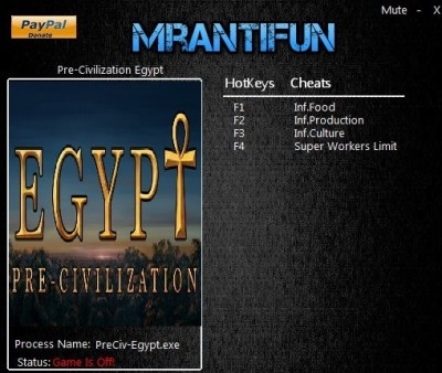 Pre-Civilization Egypt cheats
