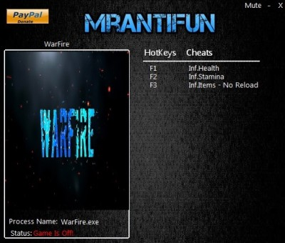 Warfire (2016) cheats