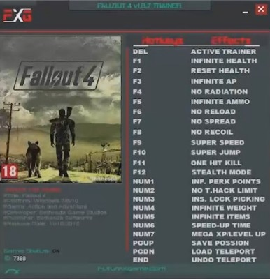 Fallout 4 - Trainer +23 (v1.8.7)