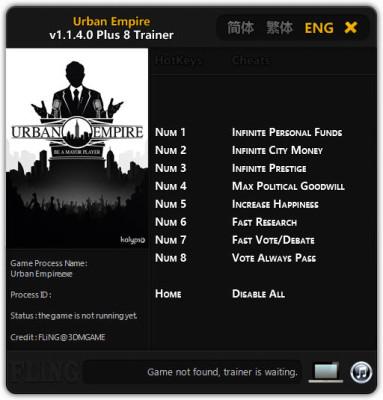 Urban Empire Trainer +9 (FLiNG)