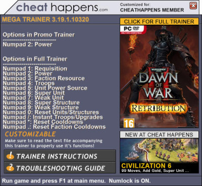 Warhammer 40k Dawn of War 2 Retribution cheats