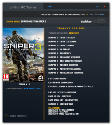 Sniper Ghost Warrior 3 cheats