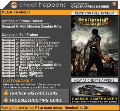 how to use dead rising 3 trainer