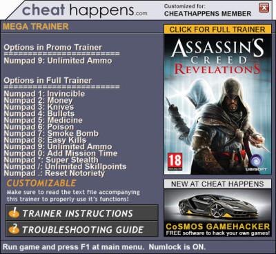 Assassin´s Creed: Revelations Trainer v1 03 (STEAM 07 19